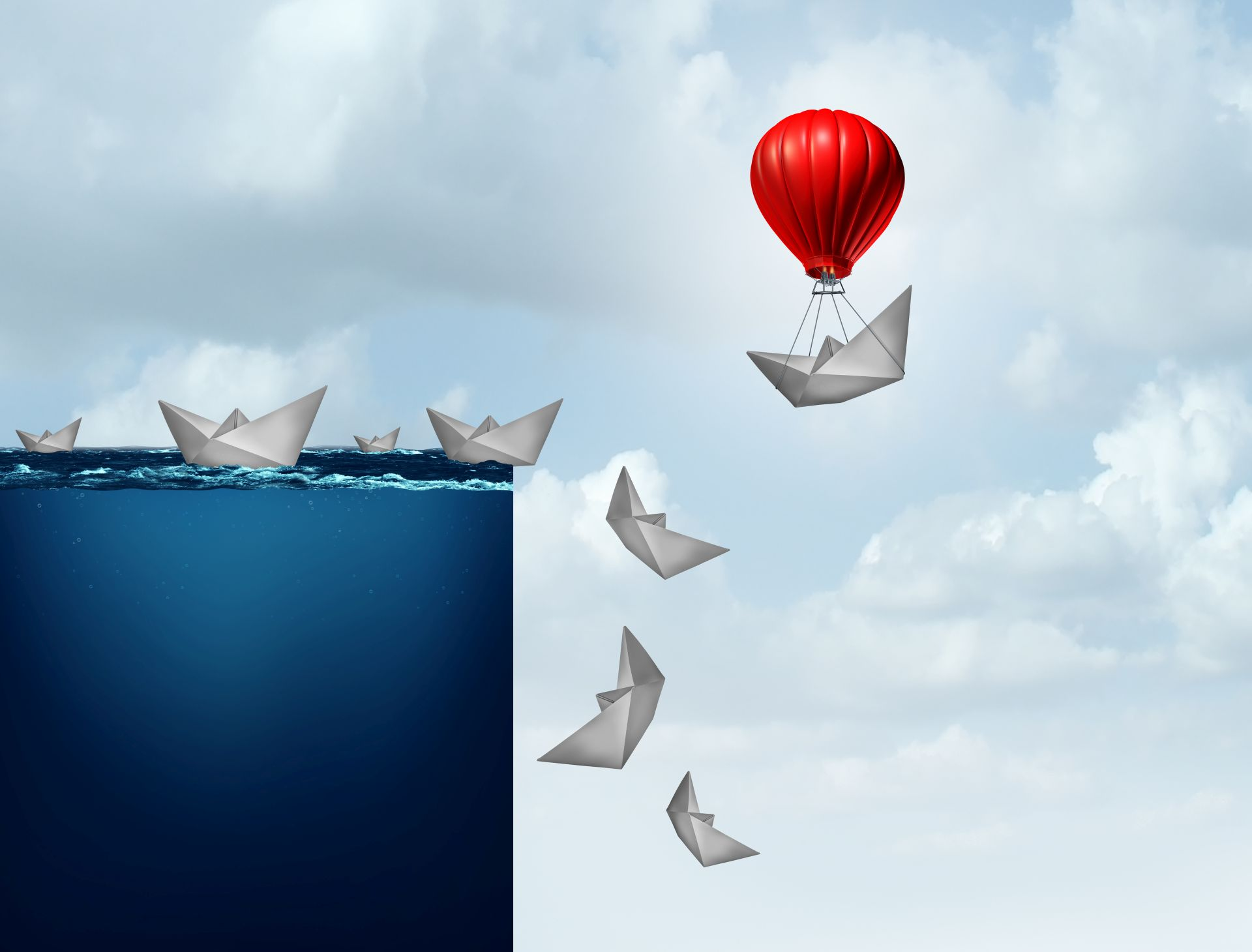 Business insurance plan and corporate liability protection concept as a paper boat lifted away from doom with 3D illustration elements.